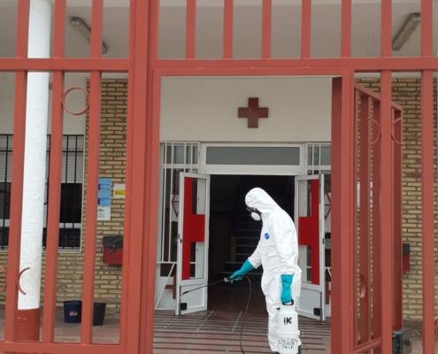 Desinfección Centro de refugiados Cruz Roja Española
