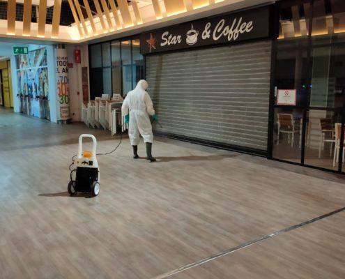 Desinfección en Centro Comercial Sevilla Factory Dos Hermanas